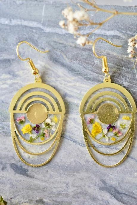 Real Pressed Flowers Earrings, Gold Drops with Alyssum