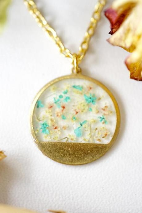 Real Pressed Flowers in Resin, Gold Circle Necklace in Teal Yellow Peach