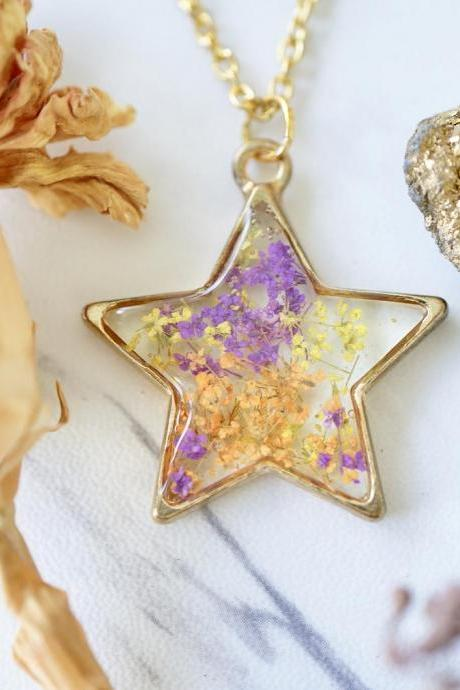 Real Pressed Flowers in Resin, Gold Star Necklace in Purple Orange Yellow