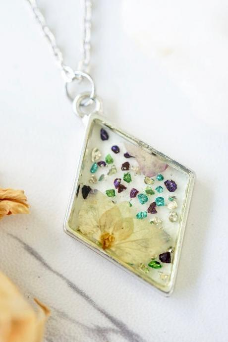 Real Pressed Flowers in Resin, Silver Diamond Necklace with Glass Glitter