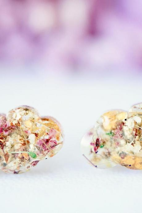 Real Pressed Flowers and Resin, Cloud Stud Earrings in Pink and Orange Mix