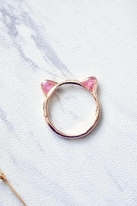 Real Pressed Flowers and Resin Cat Ring in Rose Gold and Pink