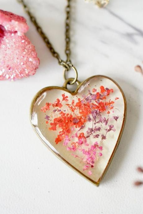 Real Pressed Flowers in Resin, Bronze Heart Necklace in Purple Pink Red