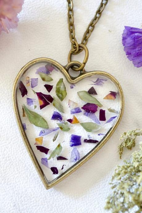Real Pressed Flowers in Resin, Bronze Heart Necklace in Purple Mix