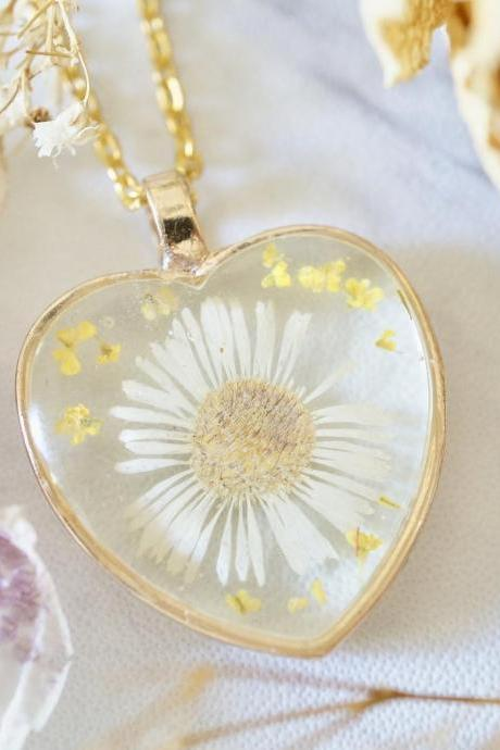 Real Pressed Flowers in Resin, Gold Heart Necklace in White Daisy and Yellow