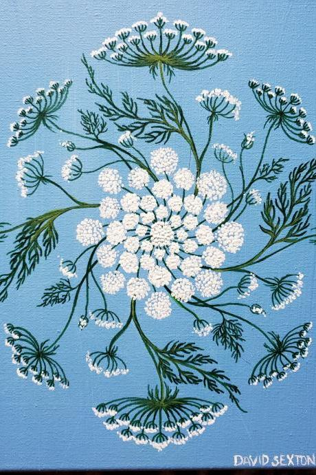 Custom Hand Painted Flower Queen Anne's Lace Mandala Painting