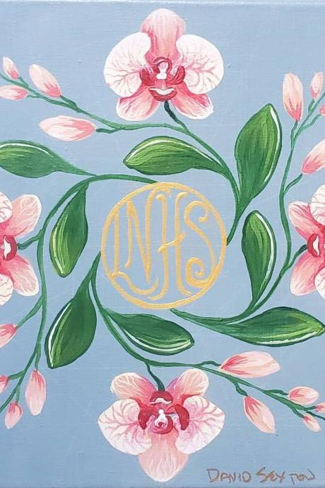 Custom Hand Painted Flower Monogrammed Mandala Painting