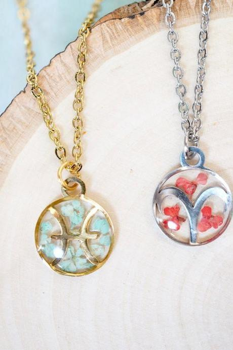 Real Pressed Flowers in Resin, Astrological Sign Necklace in Gold or Silver