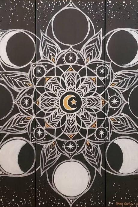 Custom Hand Painted Lunar Moon Phase Flower Mandala Painting
