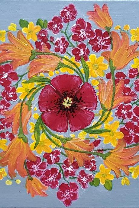 Custom Hand Painted Flower Mandala Painting