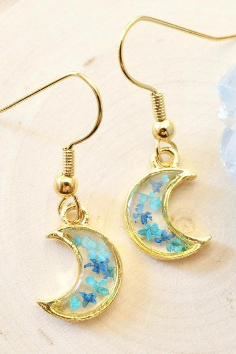 Real Pressed Flowers and Resin Drop Earrings, Gold Moons in Teal and Blue