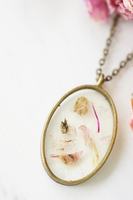 Real Pressed Flowers in Resin, Bronze Oval Necklace in Mix