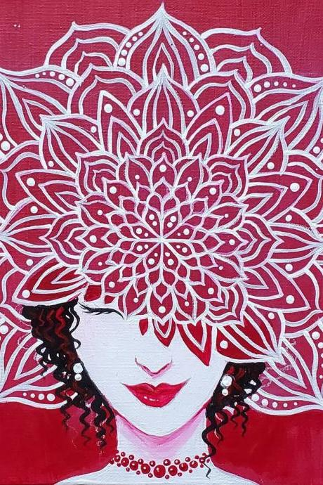 Custom Hand Painted Flower Lady Mandala Painting