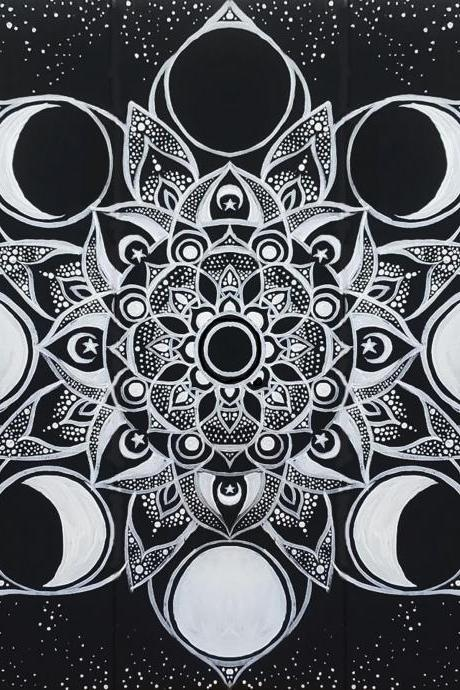 Custom Hand Painted Lunar Flower Mandala Painting