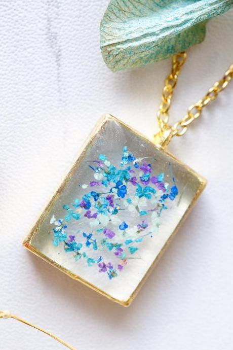 Real Pressed Flowers in Resin Necklace, Gold Square in Blue Mint Teal Purple