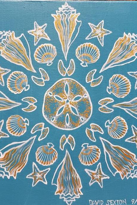 Custom Hand Painted Seashell Flower Mandala Painting