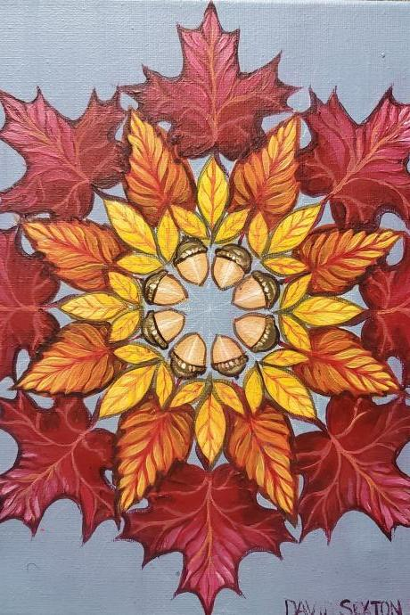 Custom Hand Painted Leaf Flower Mandala Painting
